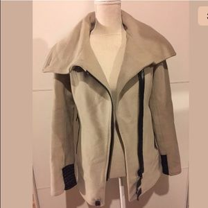 Mackage wool cashmere taupe leather trim coat S